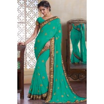 Paaneri Designer Light Sea Green Color Embroidery Border Georgette Printed Saree-Product Code-17120482134