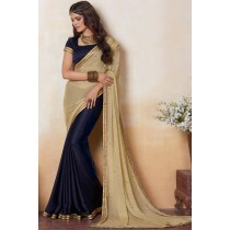 Paaneri Designer Shaded Tan With Navy Color Stone Work Silk Georgette Saree-Product Code-17120482234