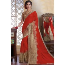 Paaneri Designer Red Color Chiku Woven Print  Georgette Printed Saree-Product Code-17120482334