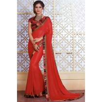Paaneri Designer Red Color Stone Work Border Georgette Printed Saree-Product Code-17120482534