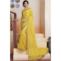 Paaneri Designer Gold Color Floral Print Georgette Printed Saree -Product Code-17120482634