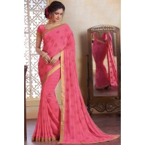 Paaneri Designer Pink Color Floral Woven Stone Work Georgette Printed Saree-Product Code-17120482734