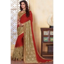 Paaneri Designer Red With Mehndi Color Woven Print Silk Georgette Saree -Product Code-17120482834