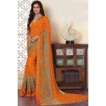 Paaneri Designer Orange With Chiku Color Leaf Print Satin Lace Border Georgette Printed Saree -Product Code-17120483034