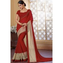 Paaneri Designer Maroon Color Beige Woven Color Silk Georgette Saree-Product Code-17120483234