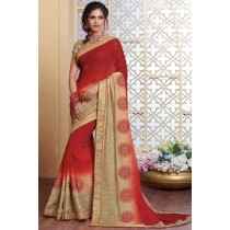 Paaneri Designer Red Color Stone Work Woven Print Border Silk Georgette Saree-Product Code-17120483434