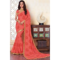Paaneri Designer Light Coral Color Embroidery Border Georgette Printed Saree -Product Code-17120483534