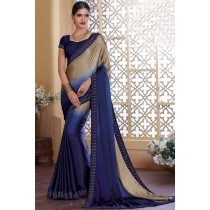 Paaneri Designer Navy Blue With Chiku Color Stone Work Silk Georgette Saree-Product Code-17120483634