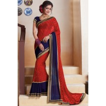 Paaneri Designer Red With Blue Color Thread Work Georgette Printed Saree-Product Code-17120483934