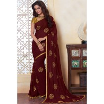 Paaneri Designer Maroon Color Woven Print Georgette Printed Saree-Product Code-17120484134