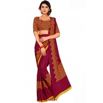 Paaneri Designer Maroon With Gold Color Crepe Printed Saree -Product Code-17120669036