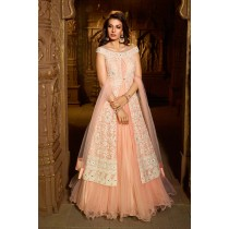 Paaneri Designer Light Salmon with OffWhite Color Embroidery Work Silk with Net Long Gown -SKU Code-18122181202