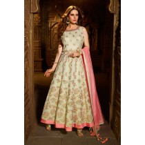 Paaneri Designer Silk with Cornsilk Color Embrodery Work Anarkali Long Gown -SKU Code-18122185102