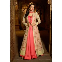Paaneri Desinger Brocket Silk Embroidery Work Net Dupatta with Light Coral Color Silk Long Gown -SKU Code-18122186802