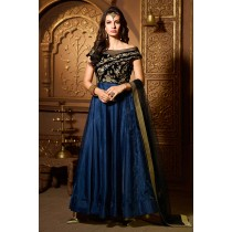 Paaneri Desinger Half & Half Blue Velvet Zari Embroidery Work Net Dupatta with Navy Blue Color Silk Anakali Long Gown -18122187002