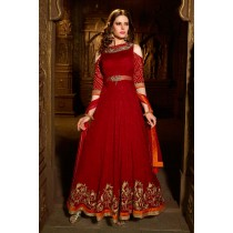 Paaneri Desinger Dark Red Color Jacquard Silk Hand & Machine Work with Bandhani Sleeves Anakali Long Gown -SKU Code-18122187202