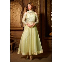 Paaneri Desinger PaleGoldenrod Color Tissue Fabrics Embroidery Work with Jacquard Silk Long Gown -SKU Code-18122187302