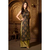 Paaneri Desinger Dark Navy Color Heavy Jacquard  Silk with Dark Khaki Silk Palazzo Suit -SKU Code-18122187502