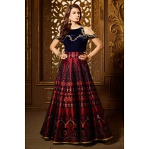 Paaneri Desinger Half & Half Navy Velvet Embroidery Work with Dark Red Color Silk Anakali Long Gown -SKU Code-18122187602