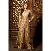 Paaneri Desinger Gold Color Embroidey Zari Work with Net Dupatta Silk Palazzo Suit -SKU Code-18122187802