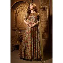 Paaneri Desinger Khaki Color Printed with Net Dupatta Long Gown -18122188202