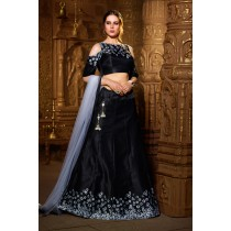 Paaneri Designer Stiched Silk Cold Shoulder Cut Dark Navy Color Lehanga Choli with Net Dupatta-SKU Code-18122975001