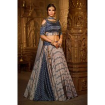 Paaneri Designer Stiched Silk Cold Shoulder Cut Light Blue with Tan Color Lehanga Choli with Net Dupatta-SKU Code-18122976001