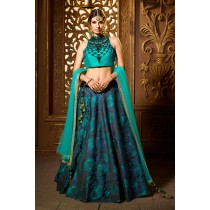 Paaneri Designer Stiched Silk Close Neck Dark Turquoise with Dark Navy Color Lehanga Choli with Net Dupatta -SKU Code-18122980001