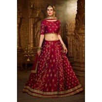 Paaneri Designer Stiched Silk Heavy Embroidery Zari Work with Dark Maroon Color Lehanga Choli with Net Dupatta -SKU Code-