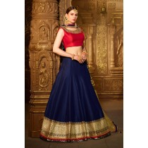 Paaneri Designer Stiched Silk Round Neck Dark Red with Midnight Blue Color Heavy Borde Lehanga Choli with Net Dupatta -SKU Code-