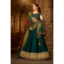 Paaneri Designer Stiched Silk Embroidery Zari Work Blouse with Forest Green Color Lehanga Choli with Georgette Dupatta -SKU Code -18122986001
