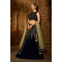 Paaneri Designer Stiched Velvet Heavy Embroidery Zari Stone Work Dark Navy Blue Color Lehanga Choli with Net Dupatta -SKU Code-18122989001