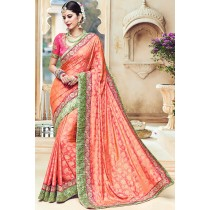 Paaneri Designer Peach Color Floral Print Embroidery Border Art Silk Saree-Product Code-17119090106