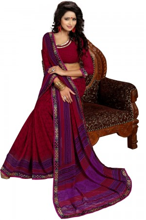 Paaneri Fancy Maroon Color Georgette Printed Saree Product Code-16120020411