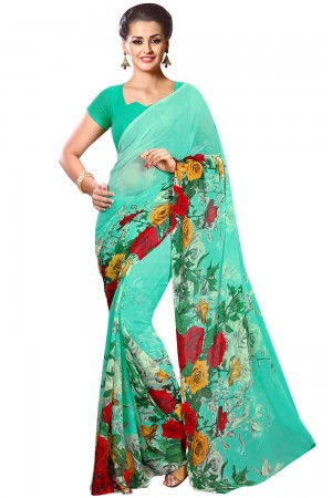 Paaneri Aquamarine Color Floral Georgette Printed Saree Product Code-16120021012