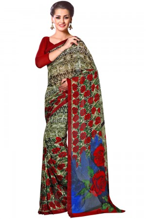 Paanre Exclusive Mehndi Color Floral Georgette Printed Saree Product Code-16120021112