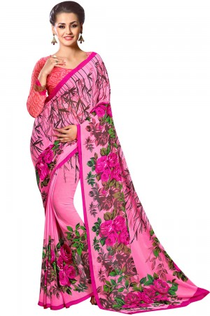 Paaneri Dark Pink Color Floral Georgette Printed Saree Product Code-16120023512