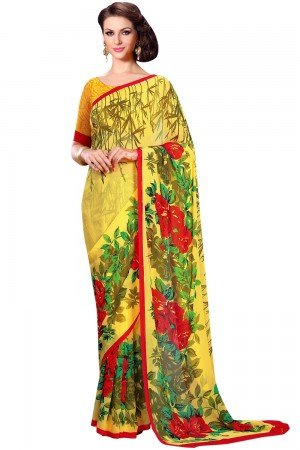 Paaneri Yellow Color Floral Georgette Printed Saree Product Code-16120023612