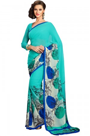 Paaneri turquoise Color Floral  Georgette Printed Saree Product Code-16120023912