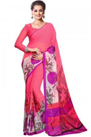 Paaneri Pink Color Floral Georgette Printed Saree Product Code-16120024012