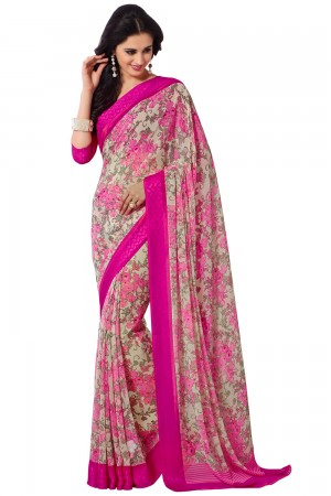 Paaneri Magenta Color Flowerest Georgett Saree With Satin Border Pallu-Product Code-16120407306