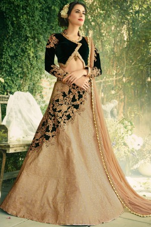 Paaneri Designer Girlish Tan Color Partywear Indowestern Raw Silk Unstich Lehenga With Net Pallu-Product Code-17119040102