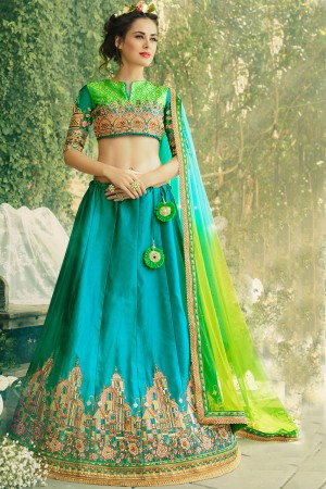 Paaneri Designer Rama Color Girlish Partywear Wedding Raw Silk Unstich Lehenga With Net Pallu-Product Code-17119040402