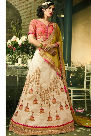 Paaneri Designer Girlish Cream Color Partywear Wedding Raw Silk Unstich Lehenga With Net Pallu-Product Code-17119040602