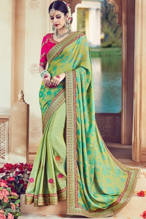 Paaneri Designer Light Green Color Floral Print Embroidery Border Art Silk Saree-Product Code-17119090406