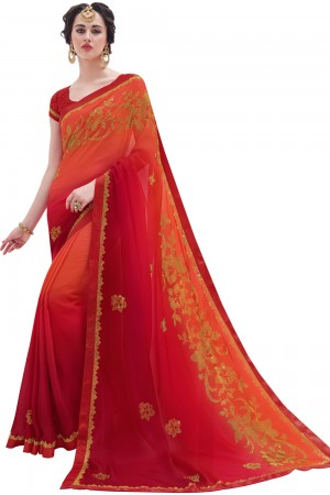 Paaneri Designer Maroon With Rust Color Floral Print Silk Georgette Saree-Product Code-17119100703