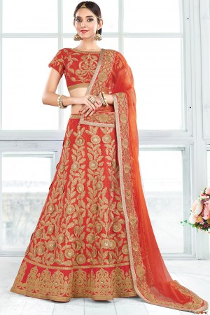 Paaneri Designer Orange Color Floral Thread Work Unstich Net Lehenga With Net Pallu-Product Code-17119710405