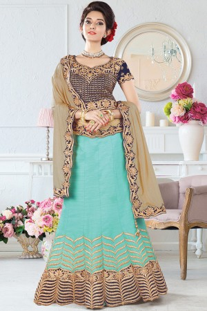 Paaneri Designer Mint Green With Tan Color Thread Work Raw Silk Unstich Lehenga With Net Pallu-Product Code-17119710705