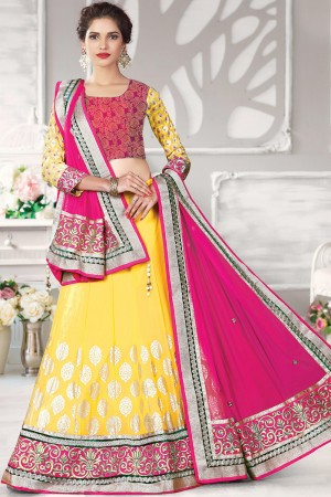 Paaneri Designer Yellow With Pink Color Embroidery Border Foil Print Georgette Unstich Lehenga With Net Pallu-Product Code-17119711005