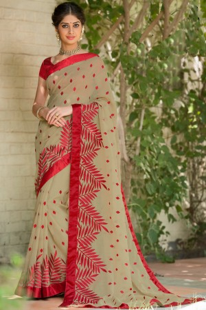 Paaneri Designer Tan With Red Color Super Net With Butti Print Saree-Product Code-17120007116